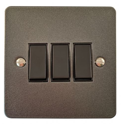 G&H FP3B Flat Plate Pewter 3 Gang 1 or 2 Way Rocker Light Switch